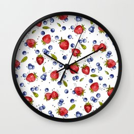 Strawberry, Blueberry, Mint Wall Clock