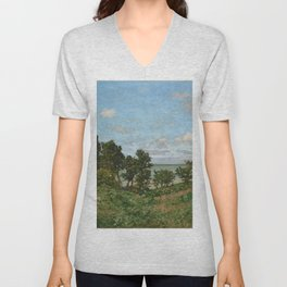 Claude Monet - Coastal landscape Unisex V-Neck
