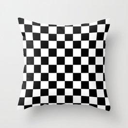 Checkered (Black & White Pattern) Throw Pillow