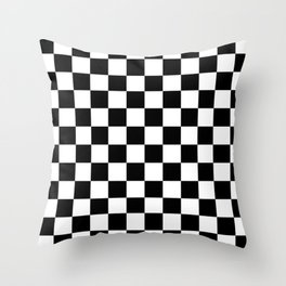 Checkered (Black & White Pattern) Throw Pillow
