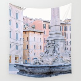 Pantheon Fountain - Rome Italy Architecture, Travel Photography Wall Tapestry
