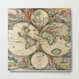 Vintage World Map print from 1689 Metal Print
