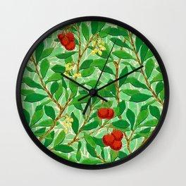 William Morris Lychee Tree Pattern, Light Jade Green Wall Clock