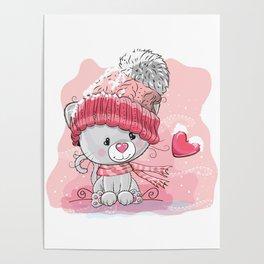 Christmas Cat Winter art Poster