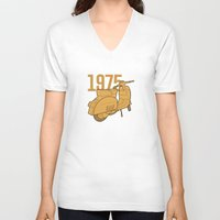 1975 V-neck T-shirts featuring Vespa Ts 1975 by usbe