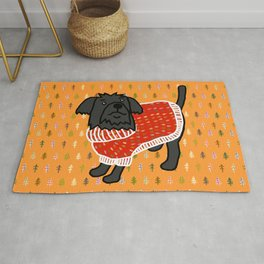 Cute dog in a Christmas tree sweater Rug