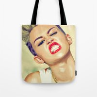 miley cyrus Tote Bags featuring Miley Cyrus by Nicolaine