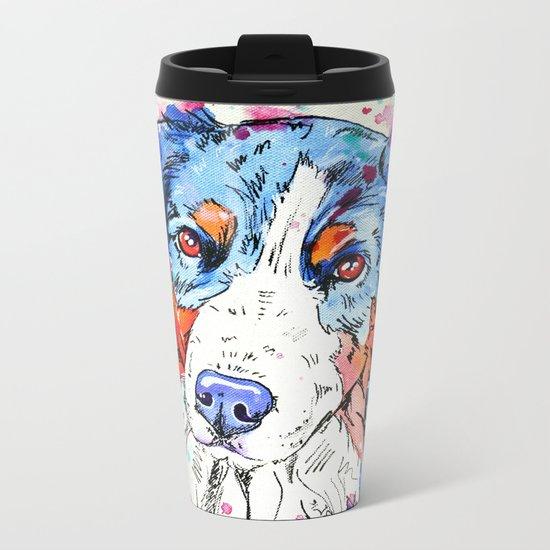 Tri Australian Shepherd Metal Travel Mug