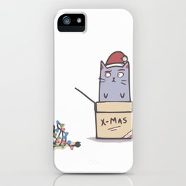 Confused Christmas Cat iPhone Case