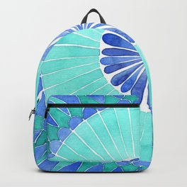 mosaic blue and green palette watercolor Backpack