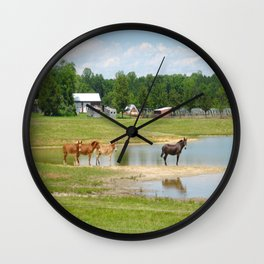 Horses. Animals. Nature Photography. Pennsylvania Wall Clock