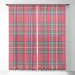 Red Plaid Christmas Scottish Tartan Sheer Curtain