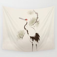 Oriental style painting, Red-crowned Crane Wall Tapestry
