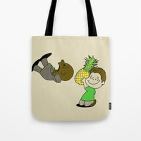 psych Tote Bags featuring Psych! by AriesNamarie