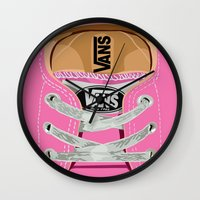 vans Wall Clocks featuring Cute pink Vans all star baby shoes apple iPhone 4 4s 5 5s 5c, ipod, ipad, pillow case and tshirt by Three Second