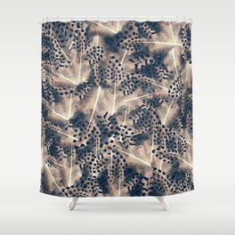 Feathers furface - beige an blue - animal print Shower Curtain