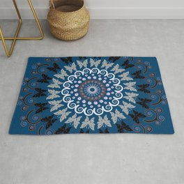Mandala 14 Black & Silver-Gray Butterflies on Denim Blue Background (some Burgundy) Rug