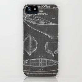 Canoe Patent - Kayak Art - Black Chalkboard iPhone Case