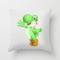 yoshi Throw Pillows featuring Yoshi by Jessica Wray