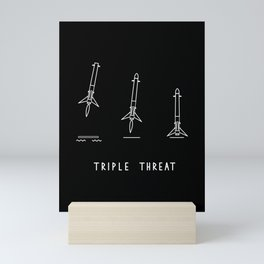 Triple Threat . Three Rocket Booster Landings . Space Lovers Mini Art Print