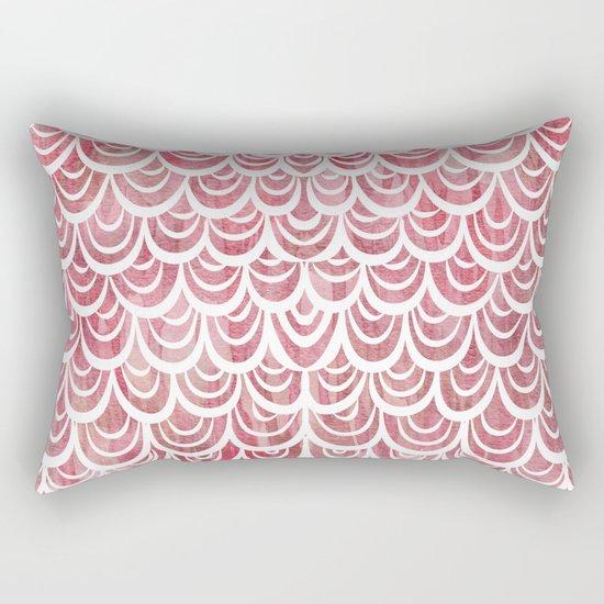 Watercolor Mermaid Rosy Garnet Rectangular Pillow