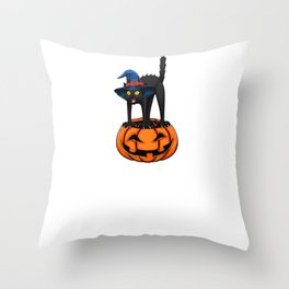 Witch Cat, It's Show Time Funny Halloween Horror Scary Throw Pillow