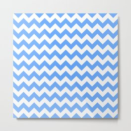 Sky Blue Small Chevron Pattern Metal Print