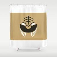 power rangers Shower Curtains featuring White Rangers Remix by hellostranger