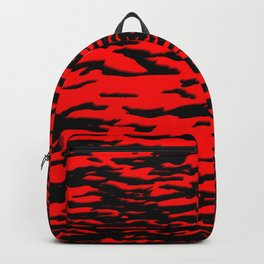 Black red abstract wave Backpack