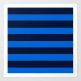 Blue Horizontal Stripes Graphic Art Print