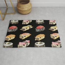 Sushi Pug Watercolor Rug
