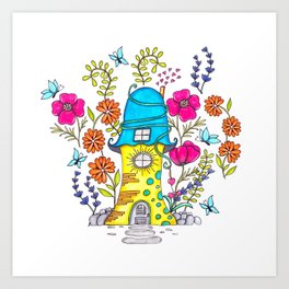 Whimsical House Garden Art Print
