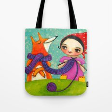Knitting with her Foxy friend Tote Bag