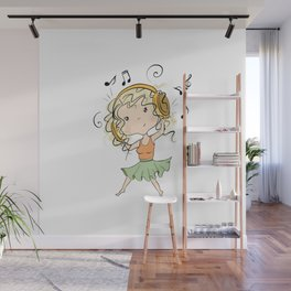 Girl With Headphones Wall Mural