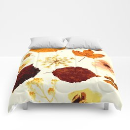 Pressed flowers and leaves Comforters