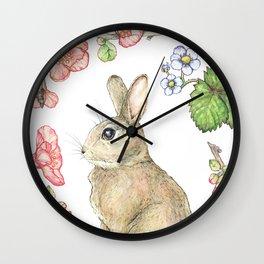 Floral Bunny Wall Clock