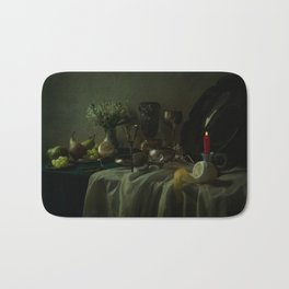 Still life with metal dishes, fruits and fresh flowers Bath Mat