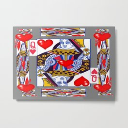RED QUEEN OF HEARTS ON GREY Metal Print