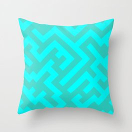 Cyan and Turquoise Diagonal Labyrinth Throw Pillow