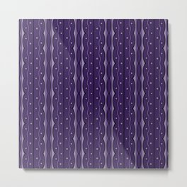 Mod Squiggles and Dots in Ultra Violet Purple Metal Print