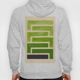 Sap Green Geometric Watercolor Painting Hoody