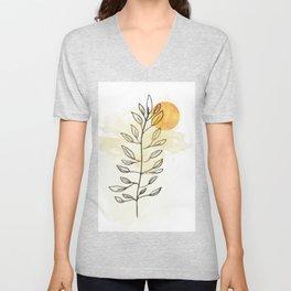 Sun and leaves, modern minimal line drawing botanical line art mid-century modern, minimal home decor, mid century plant art print Unisex V-Neck