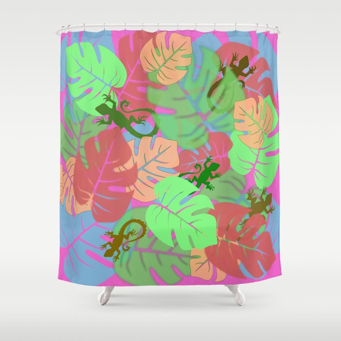 Monstera And Lizards Retro Pink Shower Curtain