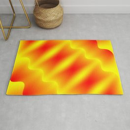 Bright pattern of blurry red and yellow lines and curly patterns. Rug