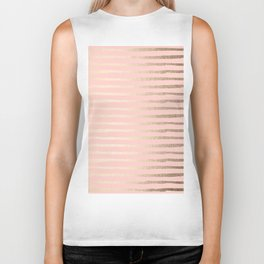Abstract Stripes Gold Coral Light Pink Biker Tank