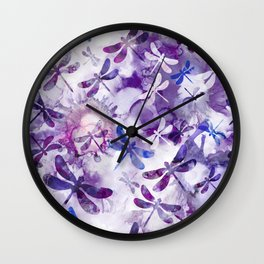 Dragonfly Lullaby in Pantone Ultraviolet Purple Wall Clock