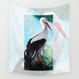 Animal - The beautiful stork - by LiliFlore Wall Tapestry