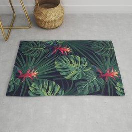 Tropical pattern with Guzmania flowers Rug