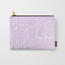Lavender Figure Skating Subway Style Typographic Design Carry-All Pouch