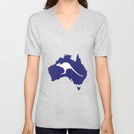 Australia Map With Kangaroo Silhouette Unisex V-Neck